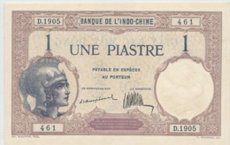 INDOCHINE   1  Piastre   Nd(1921)   -- UNC --  Rare - Indochina