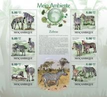 Mozambique, 2010. [moz10119] Zebras, ( Eguus Quagga Boehmi, Eguus Quagga Burchelli ) (s\s+block) - Briefmarken