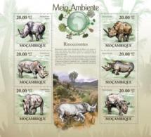 Mozambique, 2010. [moz10120] Rhinos (Ceratotherium Simun & Diceros Bicornis) (s\s+block) - Stamps