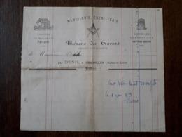L24/88 Ancienne Facture. Charolles. Menuiserie , ébénisterie. Franc Maçon. Denis. 1889 - 1800 – 1899