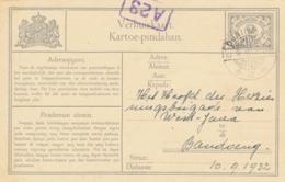 Nederlands Indië - 1932 - 2 Cent Cijfer, Verhuiskaart G8 Van LB DJATIWANGI Naar Bandoeng - Nederlands-Indië