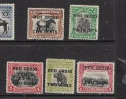 North Borneo, 1918, MRed Cross Opt, 1c,2c,4c,6c, 8c, Perf 14, MH* - North Borneo (...-1963)