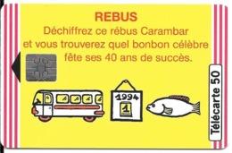 CARTE-PUCE-PRIVEE-PUBLIC- 50U-EN960-SO5-05/94-CARAMBAR-UTILISE-TBE - France
