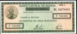 BOLIVIA BONO DE  500.000 PESOS  BOLIVIANOS , AÑO 1984 UNC - Bolivie