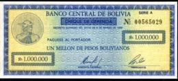 BOLIVIA BONO DE  1.000.000 PESOS  BOLIVIANOS , AÑO 1984 UNC - Bolivia