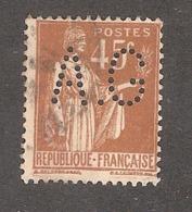 Perforé/perfin/lochung France No 282 A.G Département Etranger Hachette - Perforés