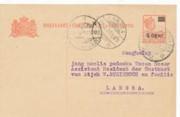 Nederlands Indië - 1929 - 5 Op 12,5 Cent Wilhelmina, Briefkaart G40 Van LB MEULABOH Naar LB Langsa - Nederlands-Indië
