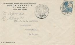 Nederlands Indië - 1932 - 15 Cent Wilhelmina Op Business Cover Van LB PANGKATAN Naar Manchester / USA - Netherlands Indies