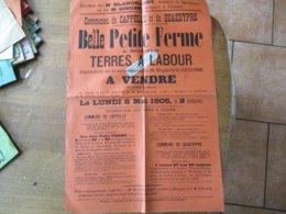 CAPPELLE ET QUAEDYPRE LE 8 MAI 1905 BELLE PETITE FERME & TERRES A LABOUR A VENDRE DEPENDANT DE LA SUCCESSION M.JACOBS HI - Affiches