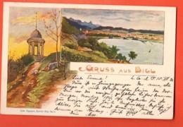 MTU-01  Gruss Aus Biel Souvenir De Bienne,Pavillon Felseck, Pionier.Edm. Pagnard No 4.Gelaufen Nach Kanton Glarus. Litho - BE Berne
