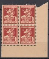 SCHWEIZ  132, 4erBlocks Mit Eckrand Unten Rechte, Postfrisch **, Pro Juventute 1916, Trachten - Ungebraucht