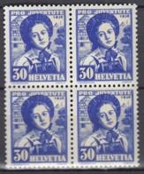 SCHWEIZ  MiNr. 309, 4erBlock, Mit Abart, Postfrisch**, Pro Juventute 1936, Frauentrachten - Variétés