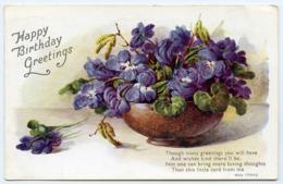 HAPPY BIRTHDAY GREETINGS : BOWL OF FLOWERS / ADDRESS - HADDENHAM, AYLSBURY, TOWNS END - Birthday