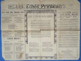 CAF CONC POPULAIRE RUE MILITARIA POLITIQUE PARTITION LE LÉGIONNAIRE**ÉCHOS PRINTANIERS 1908 À 1913 V2 - Musique & Instruments