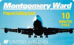 United Airlines / Montgomery Ward Prepaid Calling Card - Airplanes