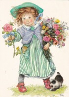 Girl Holding A Bouquet Of Flowers - Giving A Rose - Dod Puppy Biting A Shoe - Lisi Martin - Pictura Graphica AB - Ilustradores & Fotógrafos