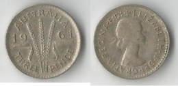 AUSTRALIE 3 PENCE 1961 ARGENT - Threepence