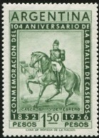 ARGENTINA 1956 104th Anniversary Of The Battle Of Caseros Justo Jose De Urquiza Horse Horses Animals Fauna MNH - Cavalli