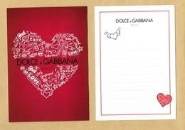 Carte Promo Perfume Card DOLCE & GABBANA * SAINT VALENTIN VALENTINE 2018 * R/V * 10,5 X 15 Cm - Modernes (à Partir De 1961)