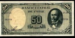 CHILE 50 PESOS CON RESELLO EN REVERSO 5 CENTESIMOS DE ESCUDO, AÑO 1961, XF - Chili