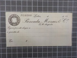 Cx 9) Portugal Cheque Banco Pancada Moraes & Cia 37, Rua Augusta, Lisboa - Cheques & Traverler's Cheques