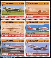 Panama 1997 Copa Airways 6v [++], (Mint NH), Transport - Aircraft & Aviation - Aviones
