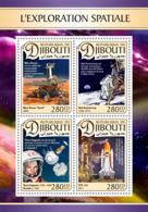 Djibouti  2016  Space Exploration, Neil Armstrong On The Moon,Yuri Gagarin - Djibouti (1977-...)