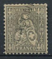 Suisse 1867 Mi. 34 Oblitéré 100% 40C, Helvetia Assise - 1862-1881 Zittende Helvetia (getande)