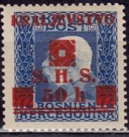 Yugoslavia KIngdom SHS,1918-19, Bosnia Issue, Surcharge 50/72h, MNH - 1919-1929 Kingdom Of Serbs, Croats And Slovenes