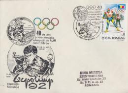 Enveloppe   ROUMANIE  40éme  Anniversaire  De  La  1ére  Médaille  D' Or   TIMISOARA   1992 - Olympic Games