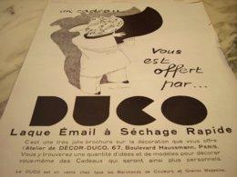 ANCIENNE  PUBLICITE UN CADEAU OFFERT LAQUE EMAIL DE  DUCO 1929 - Transportation