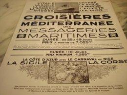 ANCIENNE PUBLICITE CROISIERE BATEAU MESSAGERIE MARITIMES  1929 - Boats