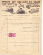 Factuur Facture - Déménagements Transports - Société Des Rouleurs De Calais - 1954 - Transports
