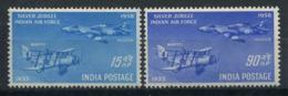 Inde 1957 Mi. 284-285 Neuf ** 80% Avion - 1950-59 République