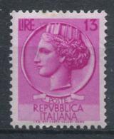 République D'Italie 1953 Sass. 713 Neuf ** 100% Italie Turrita 13 L. - 1946-.. Republiek