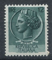 République D'Italie 1953 Sass. 712 Neuf ** 100% Italie Turrita 12 L. - 1946-60: Nuevos