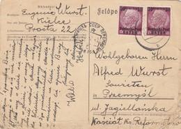 GG Russland: Postkarte Luftpost Kielce Nach Przemysl, Karte Rechts Angegriffen - Besetzungen 1938-45