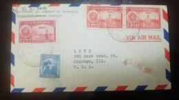 O) 1941 VENEZUELA, OIL WELLS 70c, SIMON BOLIVAR 25c, NATIONAL PANTHEON 10c, STANDARD OIL COMPAÑY - CUMAREBO, AIRMAIL T - Venezuela