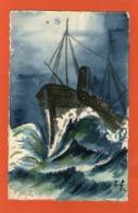 Très Belle Carte Peinte  - BATEAU - (A C ) - - Barcos