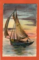 Très Belle Carte Peinte  - BATEAU - VOILIER - (A C) - - Boten