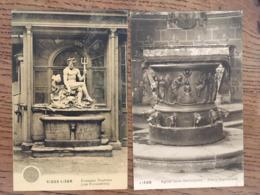 """2 Cpa, Liège, Eglise St Barthélémy """"Fonts Baptismaux"""", Vieux-Liège """"Fontaine Neptune"""", écrite En 1913, Timbres - Liege"""