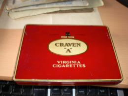 Old Tin Box Cork Tipped Trade Mark Craven A Virginia Cigarettes London England - Contenitori Di Tabacco (vuoti)