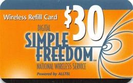 Digital Simple Freedom $30 Wireless Refill Card By Alltel - Zonder Classificatie