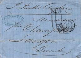 """1868- Lettre De MONTEVIDEO  """" Packet Anglais """"  Pour Langon ( Gironde ) Taxe 10 D + Marque D'échange  G B / 1f 60  C - Marcophilie (Lettres)"""