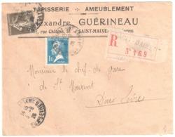 SAINT MAIXENT Deux Sèvres Lettre Recommandée Entête Tapisserie GUERINEAU 1 F Pasteur 40 C Semeuse Yv 193 179 Ob 1926 - Storia Postale