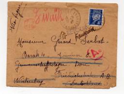 """Lettre Du 12/5/44 à Dest. De L'Allemagne Avec Retour à L'envoyeur(étiquette """"décédé"""") (timbre Pétain 4f) (PPP20297) - Marcophilie (Lettres)"""