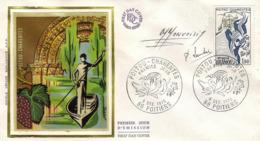 FDC 1er Jour : Poitou Charentes 06/12/1975 N° 1851 Signé M.MONVOISIN   P.LAMBERT - FDC