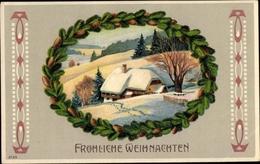 Gaufré Passepartout Cp Frohe Weihnachten, Winterszene - Natale