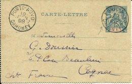 Sur Entier Du BENIN -Cachet De PORTO-NOVO Pour COGNAC -1898 - - Benin (1892-1894)