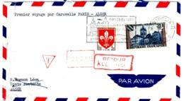 MONTBELIARD Doubs Lettre Par Avion 1° Vol Caravelle Paris-Alger Taxe Retour Envoyeur Non Réclamé Yv 1221 1186 Ob 1959 - 1927-1959 Brieven & Documenten